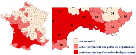 Carte des arrêtés prefectoraux contre les termites en région paca